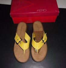 4829ae3ee Aerosoles Sandals Yellow 7 B Tredding Water Leather Flip Flops New