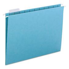 Smead Hanging File Folders 1/5 Tab 11 Point Stock Letter Aqua 25/Box 64058