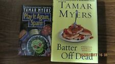 Lot of 3 Tamar Myers So Faux So Good  Play It Again Spam  Batter Off Dead Cozy