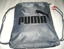 d88e17130502 Puma Forever Drawstring cinch sack Gym Bag Grey Black Cat Logo NWT Ships  Free