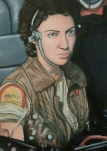 Original Aceo art sketch card Alien Lambert Veronica Cartwright Sci-fi Horror