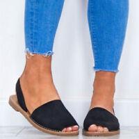 Roma Gladiator Peep Toe Slingback Womens Sandals Flats Espadrilles Summer Shoes
