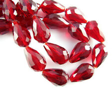 10pcs Loose Dark Red Glass Crystal Faceted Teardrop Beads 10x15mm Spacer