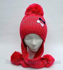 Cute Toddler Kids Girl Winter Warm Crochet Knit Pom Pom Hat Beanie Cap Earflap