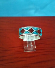 MEN HIGH QUALITY 92.5 STERLING SILVER TURQUOISE & CORAL BAND RING SIZE 13 MEXICO