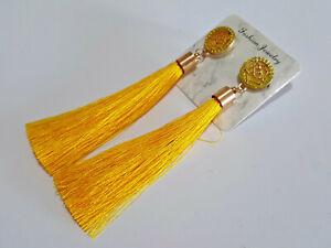 Vintage Boho Long Yellow Tassel Drop Earrings Cotton Silk Fashion Jewellery