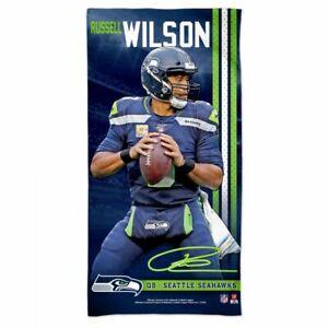 "RUSSELL WILSON SEATTLE SEAHAWKS SPECTRA BEACH TOWEL 30""X60"" COTTON PLUSH NFL"