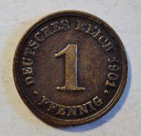 Deutsches Kaiserreich 1 Pfennig 1901 D - Kaiser Wilhelm II 1888-1918 - vz / xf
