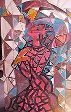 Acrylique sur toile  H RAZARKOS      STYLE ART DECO,  155 sur 76
