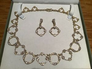 Rare Judith Ripka 14k Gold Clad Silver CZ Wreath Necklace & Matching Earrings