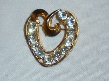 DCE Heart Rhinestone Accent Gold Filled GF Signed Pin Brooch