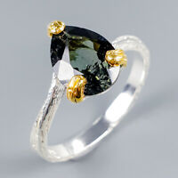 Handmade Natural Tourmaline 925 Sterling Silver Ring Size 8.5/R117218