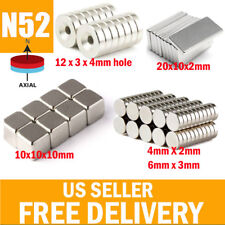 5-50 N52 Super Strong Block Round Hole Hook Fridge Rare Earth Neodymium Magnets