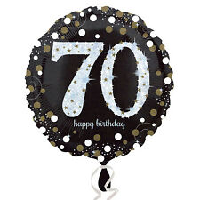 70th Happy Birthday Foil Balloon Black Silver Gold Party Decorations Age 70