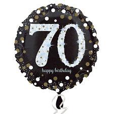 70th Joyeux Anniversaire Ballons Métalliques Noir Argent or Décoration de Fête
