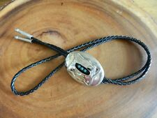 Sterling Silver Navajo Stamp Work Shadow Box Turquoise Bolo Tie FREE SHIPPING