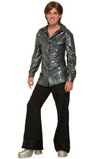 Boogie Down Disco Mens Adult Costume Shirt Top NEW Standard Size Black 70s