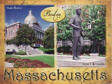 "*Postcard-""Boston, Massachusetts"" ...John F Kennedy Statue & State House-"