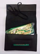 Genuine Leather Roll Up Tobacco Pouch with small Zip for Coins, Paper etc Black