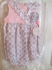 NWT Stephan Baby Bubble Romper-Style Diamond Flower Romper,Sz 6-12 Mos, pink/gra