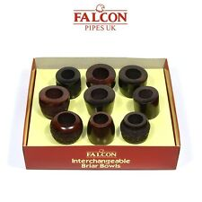 Falcon Luxury Briarwood Pipe Collectors Box Set (Nine Pipe Bowls) Gift Set