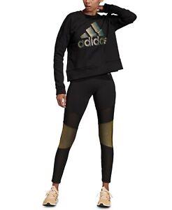 Adidas Women's Glam Colorblocked Leggings Black 2XS Free Shipping NWT