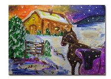 Horse Buggy Snowy Landscape ACEO Original Painting on Canvas