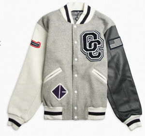 Brand New Opening Ceremony Classic Bomber Varsity Jacket Color Gray Size Medium