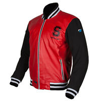 Spada Campus Leather and Textile Casual Motorcycle Motorbike Jacket - Red/Black