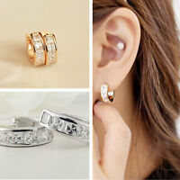 Vogue Hoop Stud Earring Women Rose Gold Silver Filled Crystal Rhinestone Jewelry