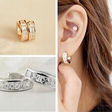 Sweet Rose Gold Silver Filled Crystal Rhinestone Ear Stud  Hoop Earring Jewelry