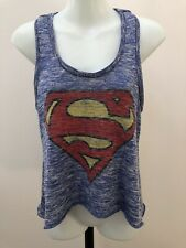 Superman Racerback Sweater Tank Top Knit Blue Size Small Women's Logo Superhero
