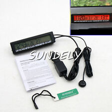 Car Auto Digital Clock LCD Thermometer Temperature Battery Voltage Monitor Meter