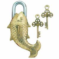 Antique Vintage Home Decor Stylish Fish Solid Brass Padlock & Keys #TSH101