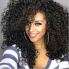 Layered Brazilian Black Big Hair Wigs Medium Short Curly Wig with Baby Hair
