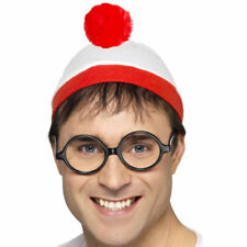 Where's Wally? Hat + Glasses Set Instant Fancy Dress Costume Kit One Size