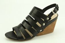 $160 NEW Naya Lassie Black Leather Wedge Sandal sz 8.5 Heels Shoes D3845L3