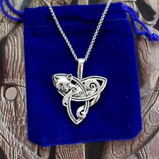 Triquetra Trinity Triple Celtic Knot Cat Pendant Necklace with Gift Pouch