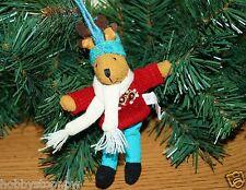 Festive Folk Plush Moose Wearing Sweater Christmas Ornament NEW DE7