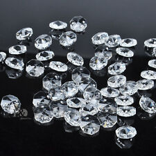 50PCS 14MM AAA 2 HOLE CLEAR OCTAGON CRYSTAL GLASS BEADS CHANDELIER CHAIN PART