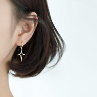 Damen Ohrringe Creole Creolen 925er Silber 925 Silber Stern Sterne