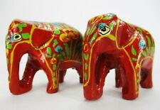 Lot of 2 Paper Mache Ornaments Elephants Handmade Red Xmas Holiday Papier Mache