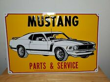Mustang Parts and Service White Paint Classic Car Ford Metal Sign