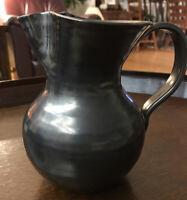 "Stunning Raku Pitcher  8"" Pottery Soft Black Glaze Low Gloss Signed Hand Thrown"
