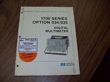HP 1700 Series Option:034/035 Digital Multimeter Operating and Service Manual