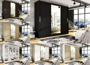 "Brand New Wardrobe ""NOTSA 1"" Sliding Doors Mirror Shelves Hanging Rail 250 cm"