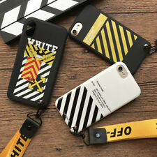 OFF WHITE Case For iPhone 6 6S 6S Plus 7 7Plus 8 8 Plus X Soft TPU Fitted Cover