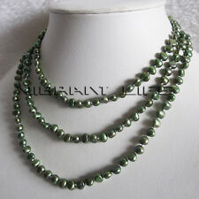 "50"" 5-6mm Dark Green Baroque Freshwater Pearl Necklace Fashion Jewelry U"