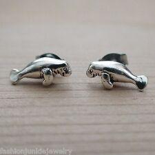 Manatee Earrings - 925 Sterling Silver Manatee Stud Earrings - Beach Ocean *New*