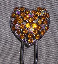 Heart Rhinestones U-Shaped Hair Pin Stick Hairpin Chignon Silver Tone, Ship Fast